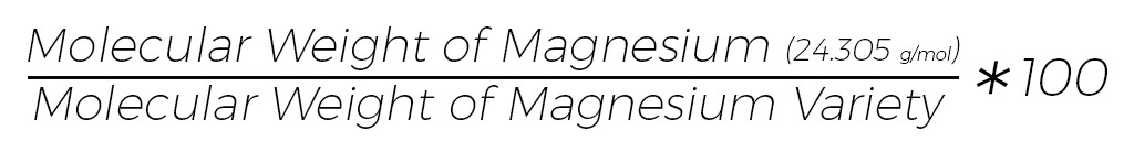 Percentage Elemental Magnesium Formula