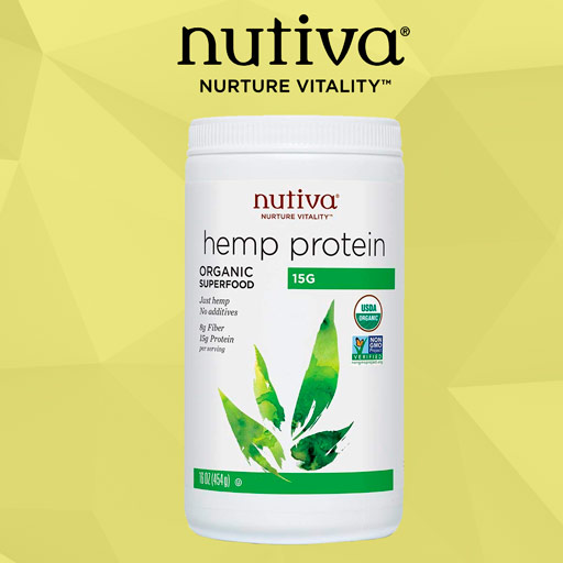 Nutiva USDA-Organic Non-GMO Hemp Protein Powder Bottle